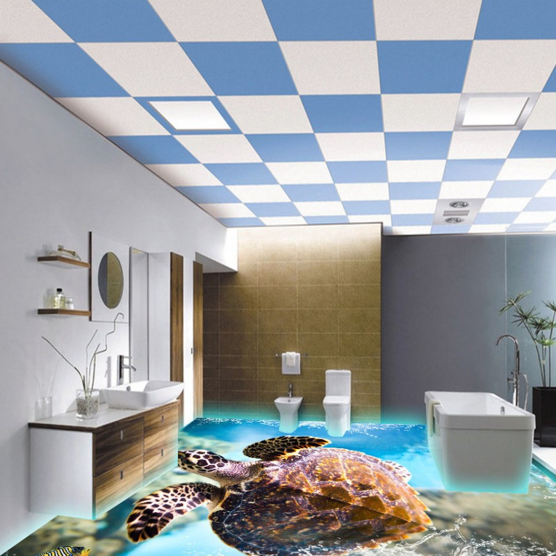 Free Shipping self-adhesive flooring wallpaper 3D Turtle bedroom hotel flooring mural