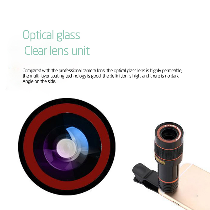 Clip-on 12x Optical Zoom Mobile Phone Telescope Lens HD Telescope Camera Lens For Universal Phones black one size 4