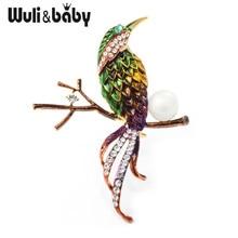 Wuli&baby New Green Bird Brooches Women Men Metal Enamel Animal Brooch Pins Gifts