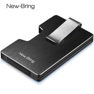 Image 1 - NewBring ผู้ถือบัตรเครดิตโลหะ RFID การปิดกั้นกระเป๋าสตางค์ Integration DESIGN หญิงและชายกระเป๋าเงิน EDC