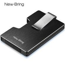 Porte carte de crédit en métal, avec porte monnaie bloquant RFID, conception dintégration, porte monnaie EDC pour femmes et hommes