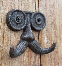 Moustache wall hook-cast iron rustic finished