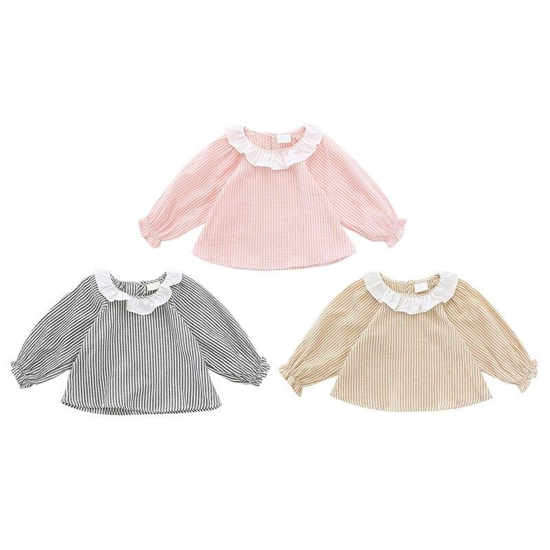 Kids Baby Girl Shirt Girl Leaf Collar Cotton Shirt Striped Shirt Autumn Long Sleeve Girl Shirt Clothes