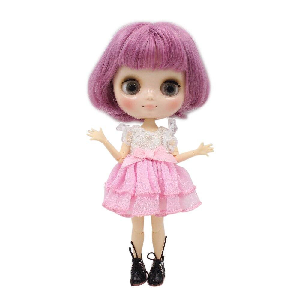 Free shipping blyth Middie Doll joint body pink hair short bob hair 1 8 20cm BL1063