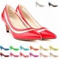2017 новый средний каблук женской обуви острым носом лакированной кожи стилет каблук большой размер женщины насосы вырез женская обувь валентина обувь