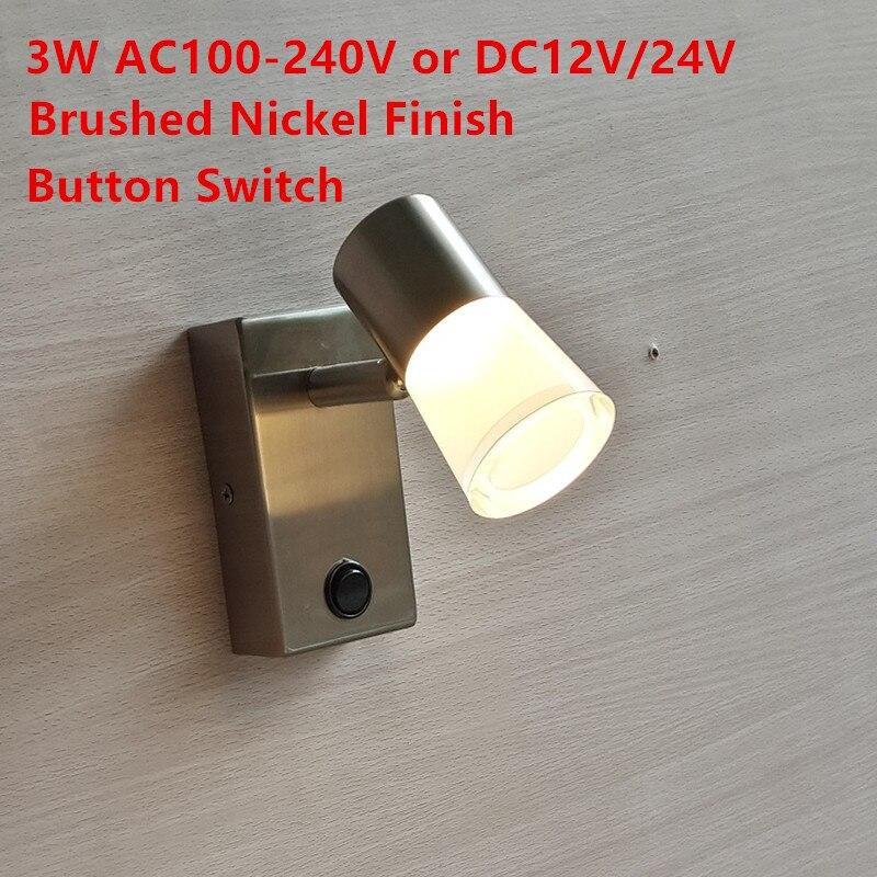 TopocH Caravan Reading Lights with Switch on/off Rotating Head Built-in Power Supply LED 3W 200LM Light No Glare Nickel Finish дополнительная фара gofl glare of light gl 0470 3311