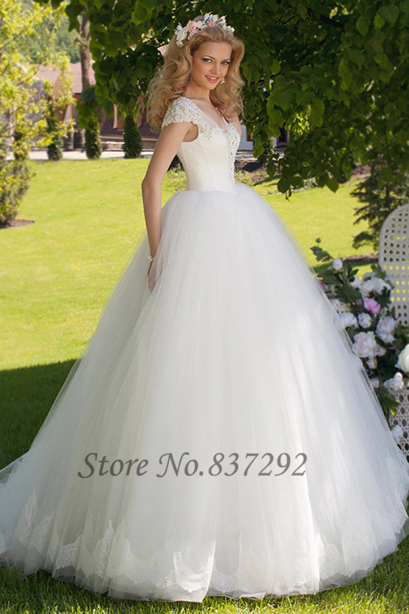 hot sell white ball gown wedding dresses lace cap sleeve bridal gowns 2016 vestido de noiva tulle beaded women in wedding dresses from weddings events on