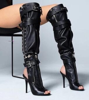 Moraima Snc Metal Decoration Solid Over the knee Summer Boots Peep Toe Thin Heel super heel sandals  Moraima Snc Metal Decoration Solid Over the knee Summer Boots Peep Toe Thin Heel super heel sandals