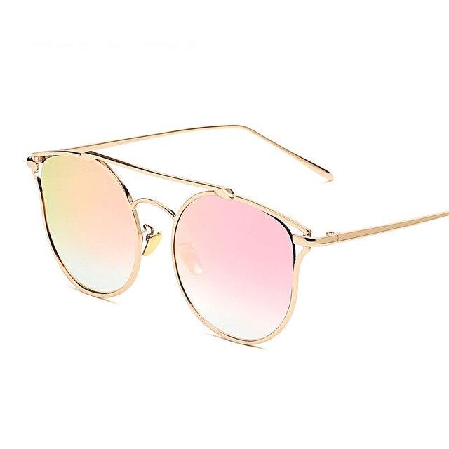 Mulheres Gato Olho Óculos De Sol Retros Do Vintage Feminino Carter Ouro  Moldura Redonda Óculos de 7add468bd1