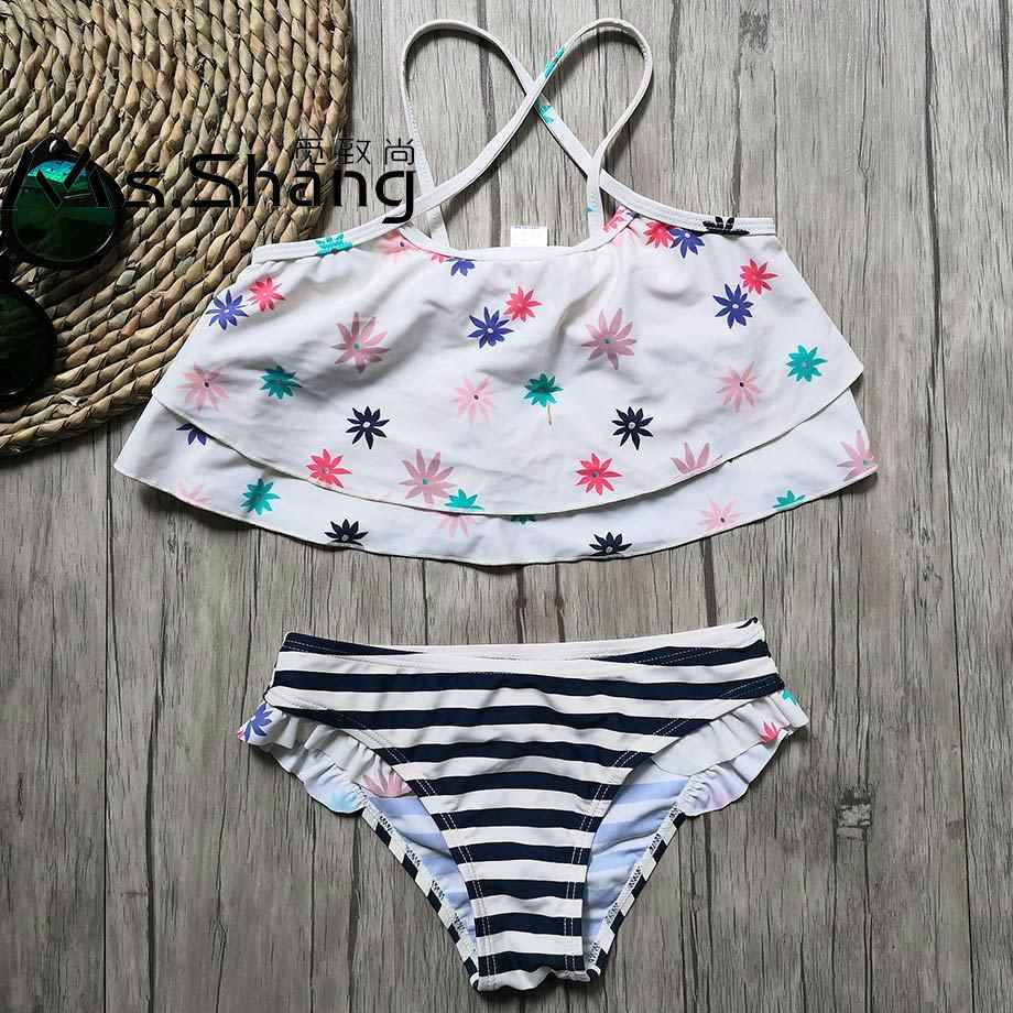 7-14 jahre Mädchen Badeanzug Kinder Druck Zwei Stück kinder Bademode Striped Mädchen Bikini Set Kind Schwimmen Tragen schwimmen Anzug für Mädchen
