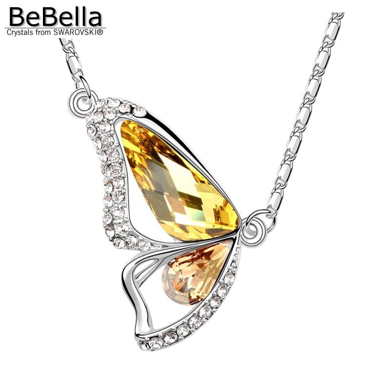 BeBella Кристальное ожерелье с подвеской в виде бабочки с кристаллами Swarovski для женщин, девочек и детей, рождественское модное ювелирное изделие, подарок - Окраска металла: Light Topaz