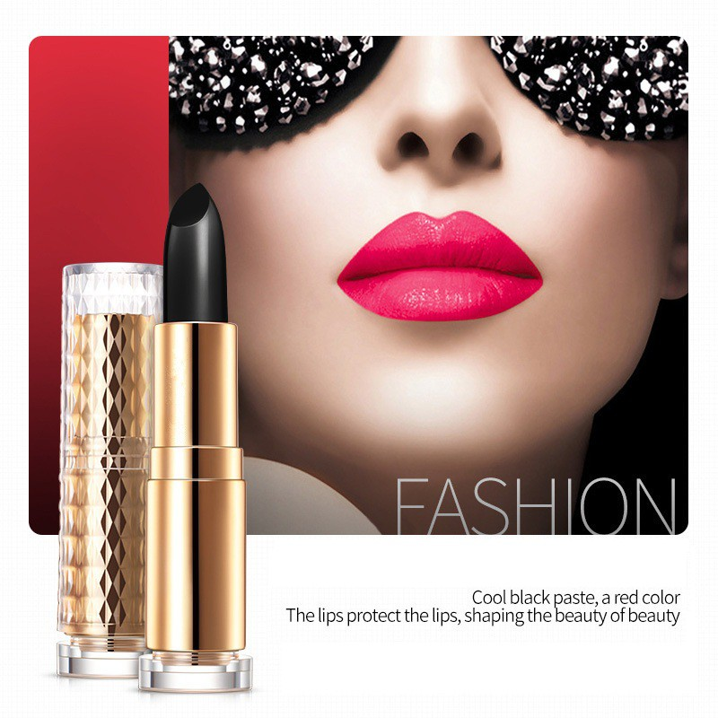 Glitter Lipstick Black Temperature Change Plum Red Lip Stick Long-lasting Black Rose Lips Balm For Women Gift Lip Beauty Makeup 2