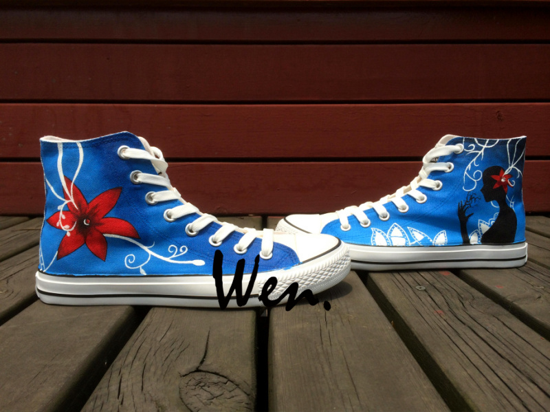 ФОТО Wen Blue Original Hand Painted Shoes Design Custom Flowers Women Men's High Top Canvas Sneakers for Birthday Gifts