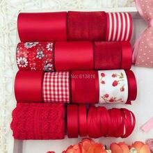 Série vermelha acessórios de costura Mixed Grosgrain fitas de cetim fita definir 17 metros fita impressa de costura Craft Gift Wrap