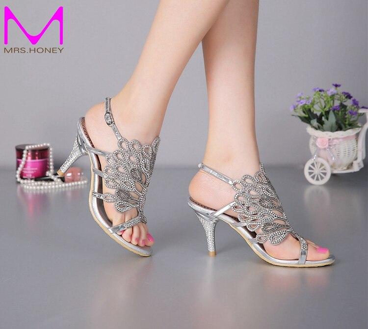 Stiletto Heel Sandals Strappy Summer Sandals Black Rhinestone Heels Sandals Wedding Bride Shoes Red Silver Prom