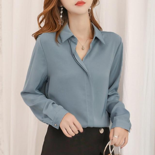 Blusas Mujer De Moda 2018 Autumn Solid Chiffon V-Neck Shirt Women Simple OL  Plus 0bc16ff01914