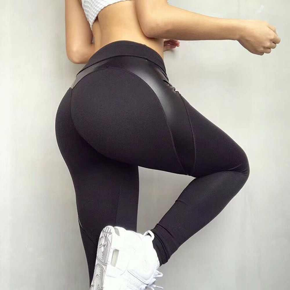 ccff70599adb41 ... Black Heart Shape Booty Yoga Pants Women PU Leather Patchwork Skinny  Leggins Sport Women Fitness Workout ...