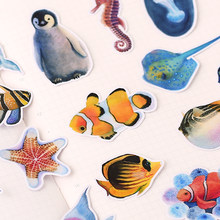20PCS Different 3D Stickers Cartoon Children Stickers Toys Emoji Sheets Cute penguin marine life Scrapbook Gifts For Kids(China)