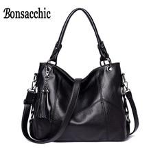 Bonsacchic Quaste Pu-leder Handtaschen Frauen Casual Tasche Marke Handtasche Frau Schwarze Handtasche Große Damen Umhängetasche Verkäufe