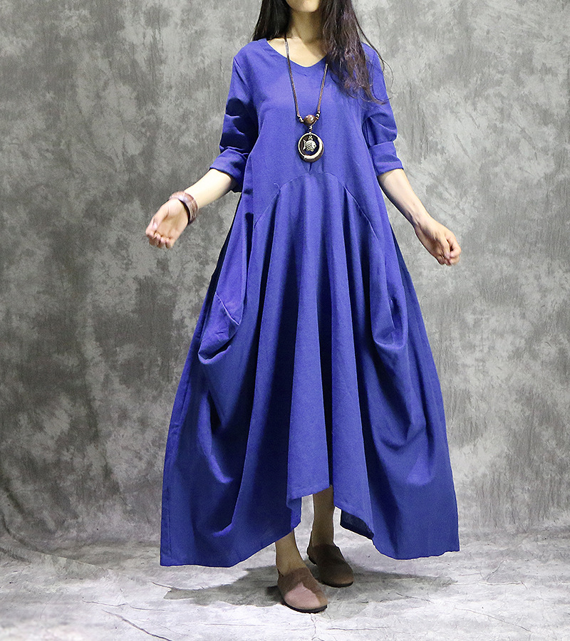 Vintage Cotton Linen 9 Color Women Maxi Dress 2018 Spring Fall New One-piece Long Sleeve V Neck Loose Plus Size Irregular Dress