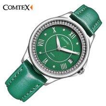 COMTEX Brand Women Watch Casual Green Leather Strap  Face Analog Display Quartz Watch Fashion Ladies Watch dress bracelet clock