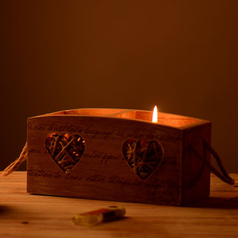 Style américain décor à la maison bougeoir amour coeur bougeoir en bois carré bougeoir support de lumière décor de mariage