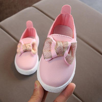 children toddler girls cute pearl rabbit ear Bow casual shoes kids sneakers tenis infantil Sport Shoes 27070