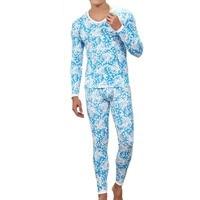 겨울 열 속옷 Pantalon 남성 블루 꽃 인쇄 열 탄성 긴 존스 녹색 니트 따뜻한 브랜드 남성 바지