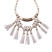 Tribal Tassel Necklace Vintage Gold Color Bold Collar Leather SD Statement Piece