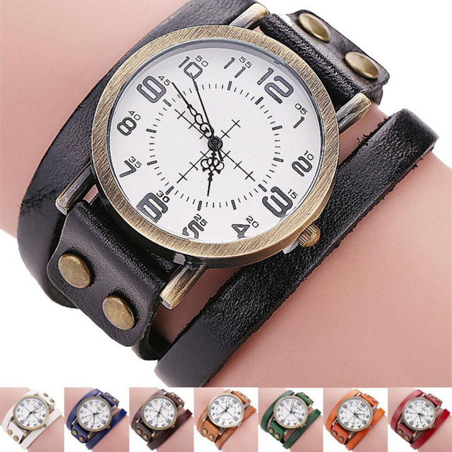 Fashion Bracelet Watch Women Vintage Cow Leather Band Men Women Business Quartz