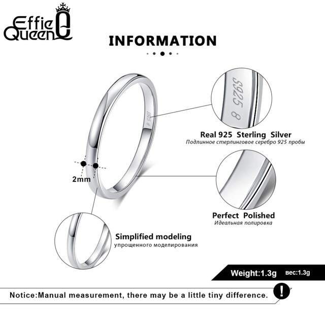 Effie Queen Genuine 925 Sterling Silver Ring for Men Women Couple Rings Wedding Band Female Finger Ring Wholesale Jewelry BR74 3