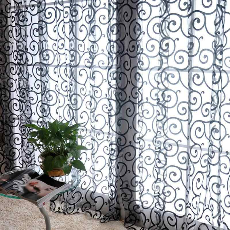 Pastoral Style Floral Voile Tulle Curtain blinds Scarf Valances Drape Sheer Window Curtains Fabric Blinds Drapes