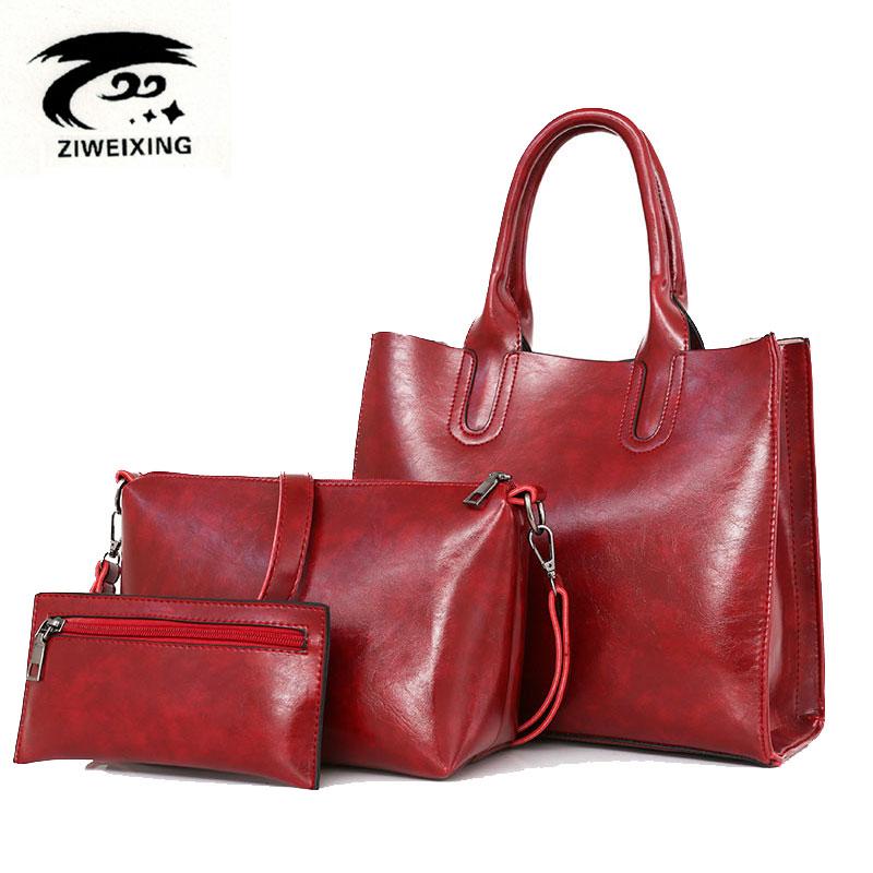 ZIWEIXING Brand Fashion Women Handbag High Quality Imitation Leather Retro Tote Bag Female Shoulder Messenger Bags Sac A Main