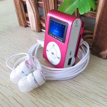 Metal LCD Screen Mp3 Music Player Portable Clip Mini Mp3 Player with Micro TF/SD Slot + High Quality Headphones + USB Cable(China)