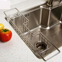 Stainless Steel Kitchen Tray Dish Drainer Drying Rack Sink Holder Basket Knife Sponge Organizer