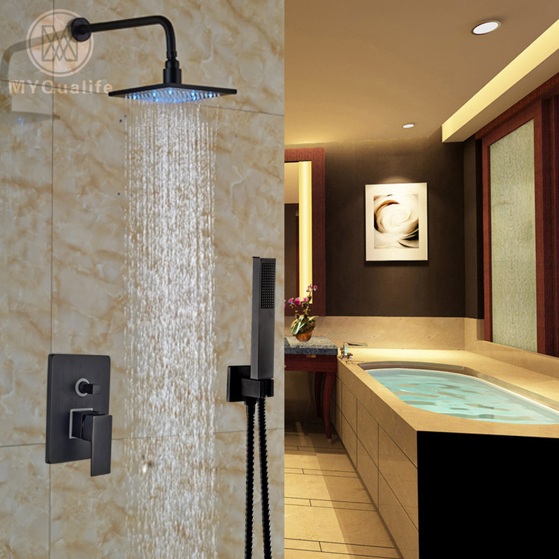Single handle 8 LED Light Rain Showerhead + Handshower Bathroom Mixer Valve Shower Faucet Set Oil Rubbed Bronze