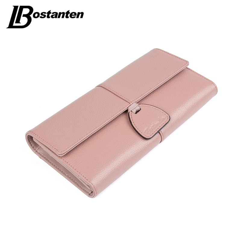 Bostanten Genuine Leather Wallet Women Designer Brand Clutch Purse Lady Party Wallet Female Coin Pocket Card Holder Money Bag contact s wallet women genuine leather wallet female card holder wallets female purse brand designer money bag wallet female