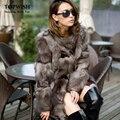 Nuevo Princess silver fox fur coat mujeres de largo calidad de piel de zorro abrigo de invierno chaqueta genuina piel de fox shiping libre TF0311