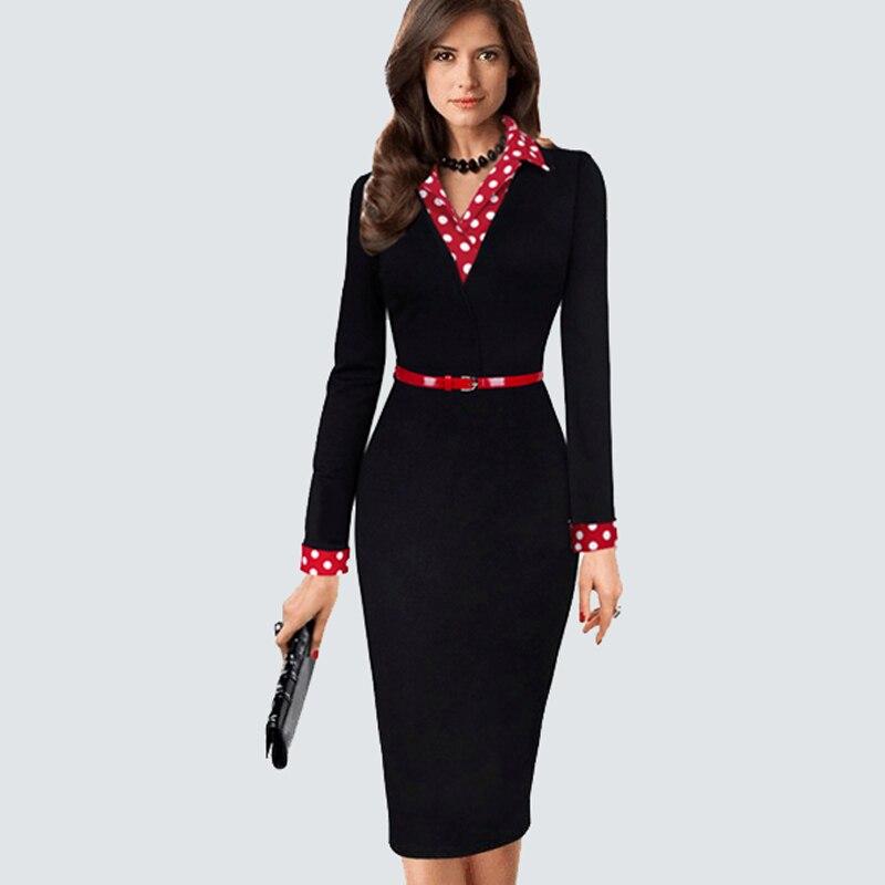 נשים Vintage השחור מעשה טלאים נקודות חגורות Bodycon בנות ללבוש למשרד עבודת עסקי מזדמן נדן עיפרון בנות HB334