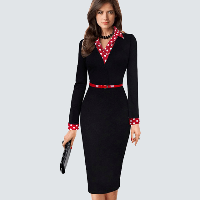 Women Vintage Black Patchwork Dots Belted Bodycon Dress Casual Wear to Work Office Business Sheath Pencil Dress HB334