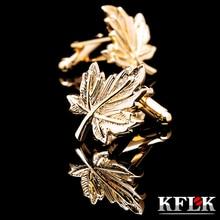 hot deal buy kflk jewelry 2014 new hot shirt cufflink for mens brand cuff buttons gold leaf cuff links high quality abotoaduras free shipping