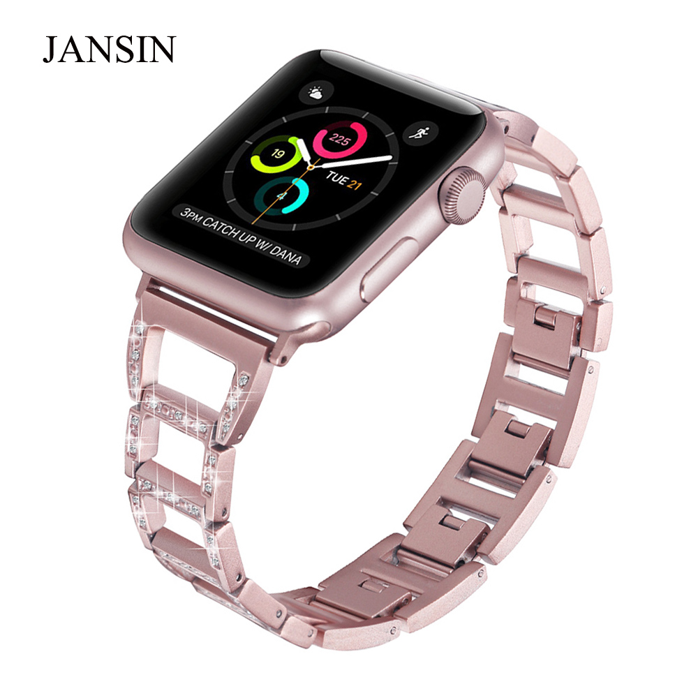 JANSIN Stainless Steel Strap For Apple Watch Band 38mm 42mm 40mm 44mm Diamond Bracelet Metal Band for iWatch Series 4 3 2 1 jansin strap band for apple watch 40mm 44mm 42mm 38mm for iwatch 3 2 1 stainless steel watch band link bracelet watchband strap