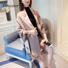 Danjeaner осень зима вязаный шерстяной длинный кардиган накидка женская большой размер плащ с кисточками цветочный свитер утолщение шаль