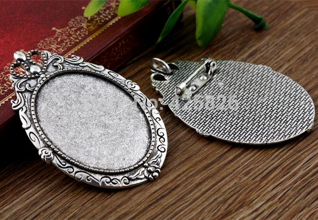 New Fashion  2pcs 30x40mm Inner Size Antique Silver Pin Brooch Flowers Style Base Setting Pendant (B3-43)