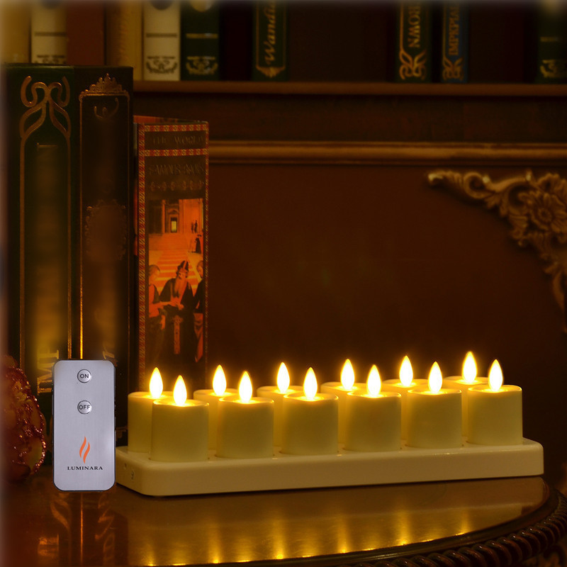12 Rechargeable Flameless Moving Wick LED TeaLight Candle with Yellow Light Flickering Unscented LED Tealight for Wedding