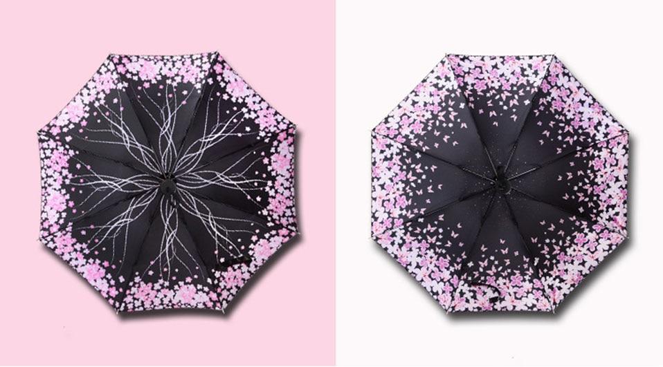 Adults Folding Umbrella For Women One Size Umbrellas Women Folding Umbrella Anti-Uv Automatic Umbrella Rain Women Flowers        (3)