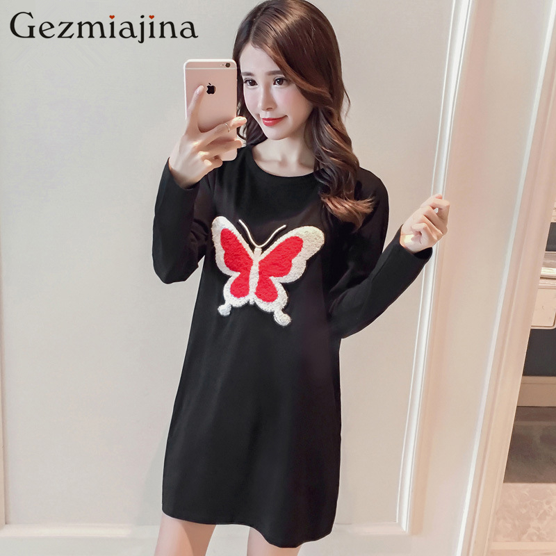 Spring autumn Maternity clothes round neck T-shirt Loose big yards pregnant women dress long sleeve free shipping