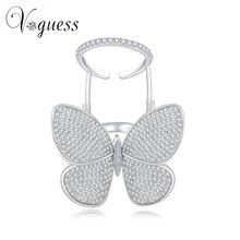 Voguess милые дамы бабочка кольцо белое золото цвет кристалл кольца для женщин с высоким качеством циркон камень новый год подарки