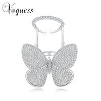 VOGUESS Lovely Ladies Butterfly Ring White Gold Plated Crystal Rings For Women With Top Quality Zircon