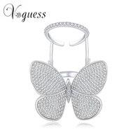 Voguess bellas damas anillo de mariposa de color de oro blanco circón anillos cristalinos para las mujeres con alta calidad de piedra regalos de año nuevo